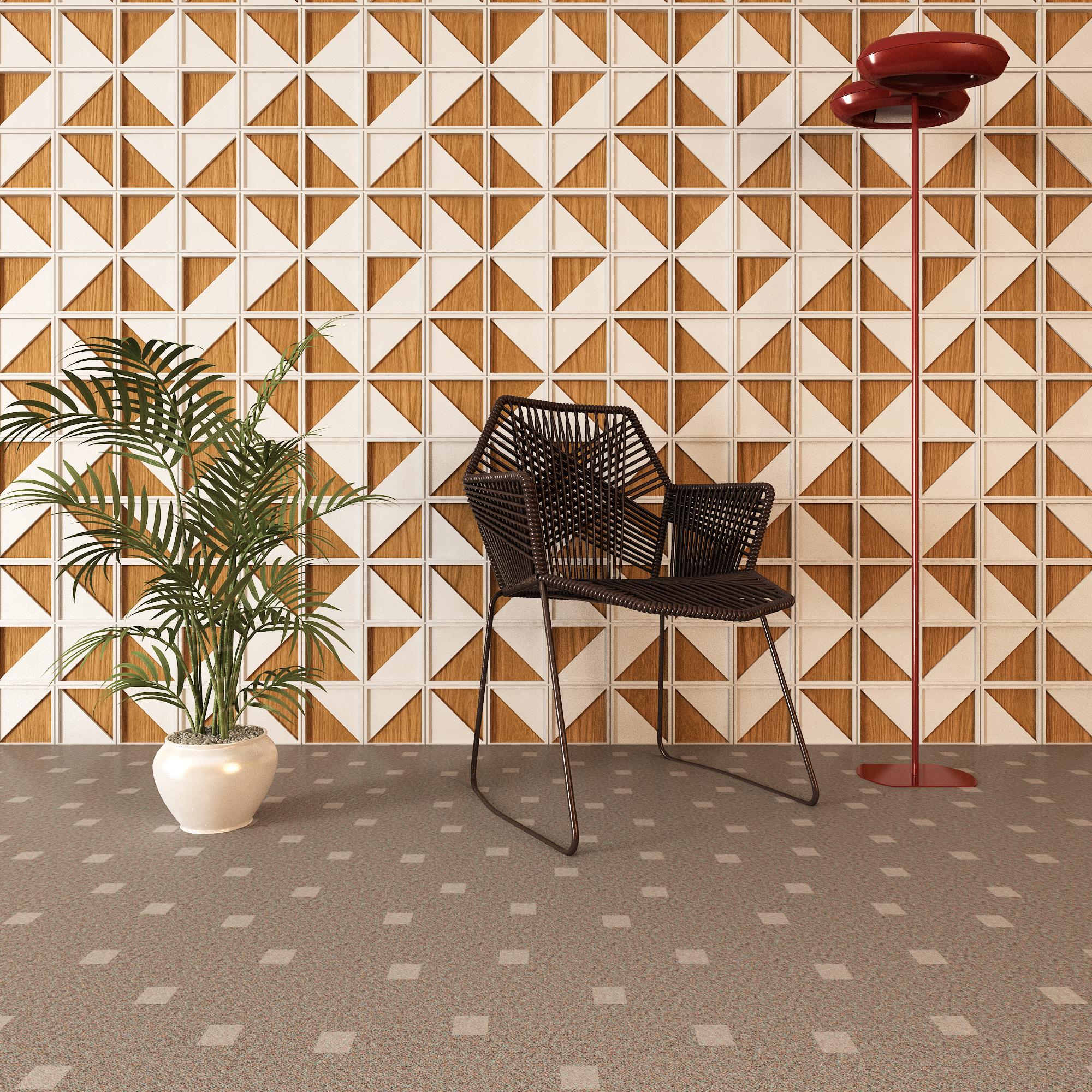Ambiente com painel de revestimento Mosaic, da Domi design