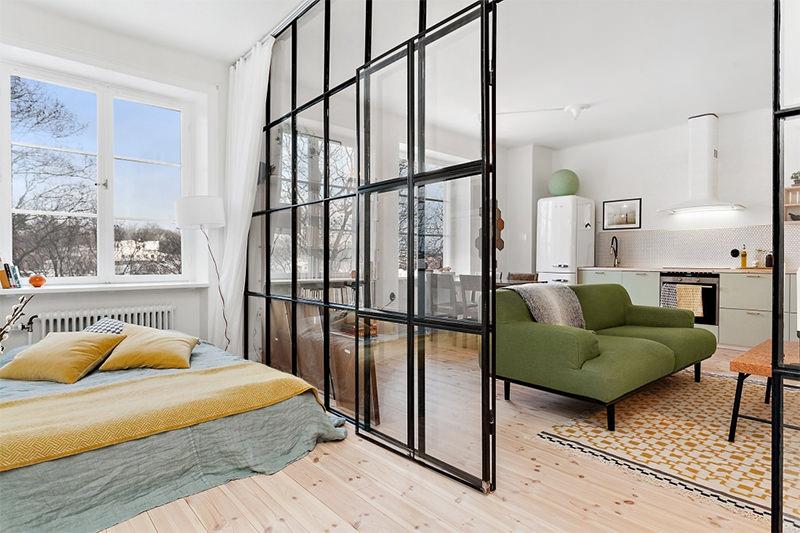 Apartamento de 45m² com divisória de vidro