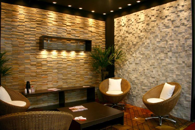 Pedras naturais em casa saiba como utilizar for Azulejo para pared de sala