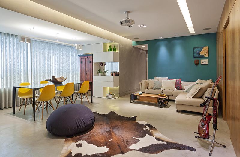 estar integrado cor decoração parede colorida azul