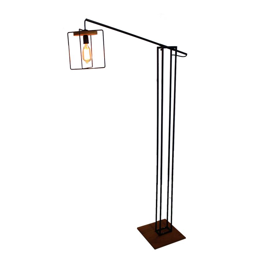 Luminária de Piso em Ferro e Madeira Tetris Braço